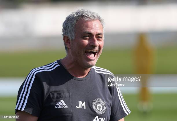 Manager Jose Mourinho of Manchester United in action during a first team training session at Nad Sheba Sports Complex on January 9 2018 in Dubai...
