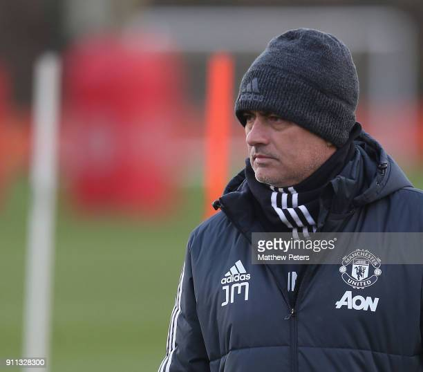Manager Jose Mourinho of Manchester United in action during a first team training session at Aon Training Complex on January 28 2018 in Manchester...