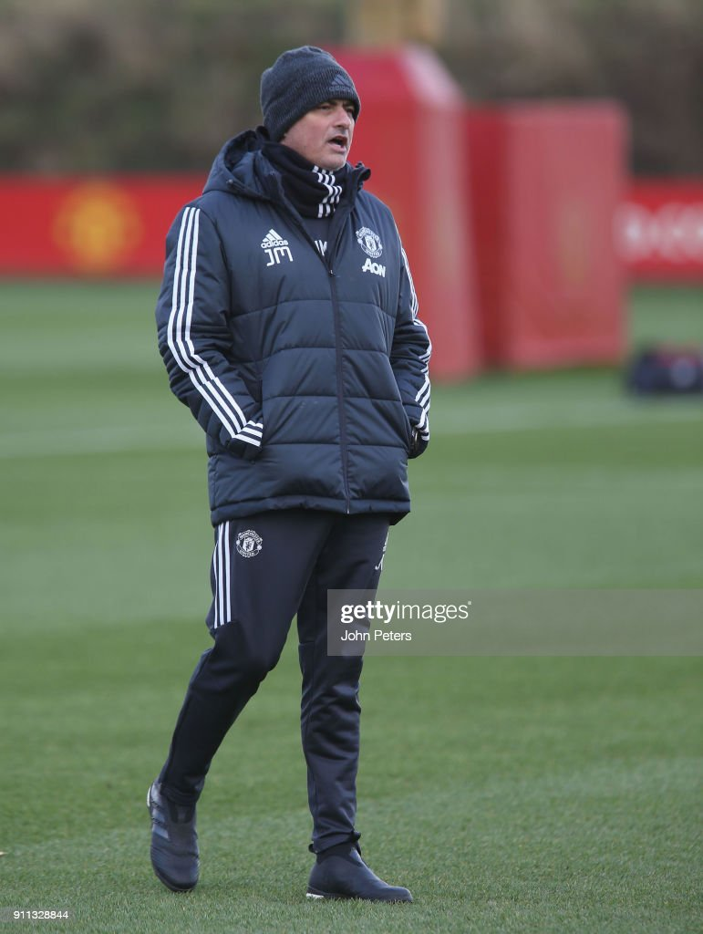 Manager Jose Mourinho of Manchester United in action during a first team training session at Aon Training Complex on January 28, 2018 in Manchester, England.