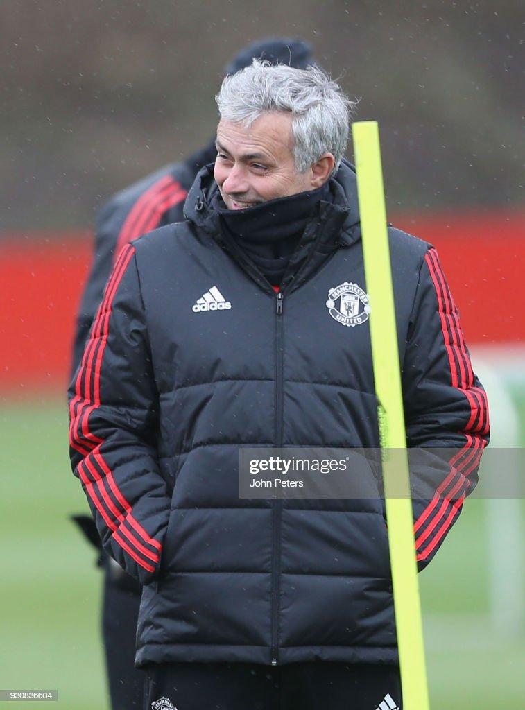 Manager Jose Mourinho of Manchester United in action during a first team training session at Aon Training Complex on March 12, 2018 in Manchester, England.