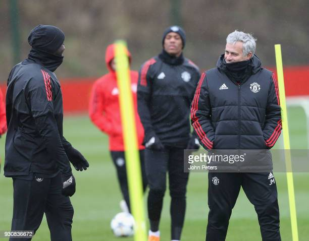 Manager Jose Mourinho of Manchester United in action during a first team training session at Aon Training Complex on March 12 2018 in Manchester...