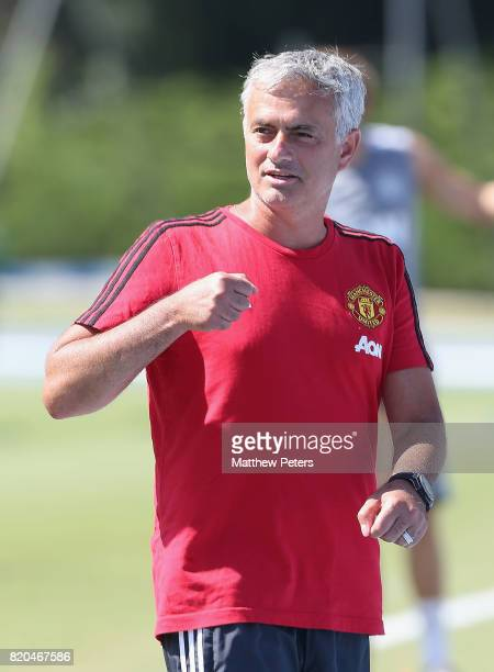 Manager Jose Mourinho of Manchester United in acton during a first team training session as part of their preseason tour of the USA at UCLA on July...
