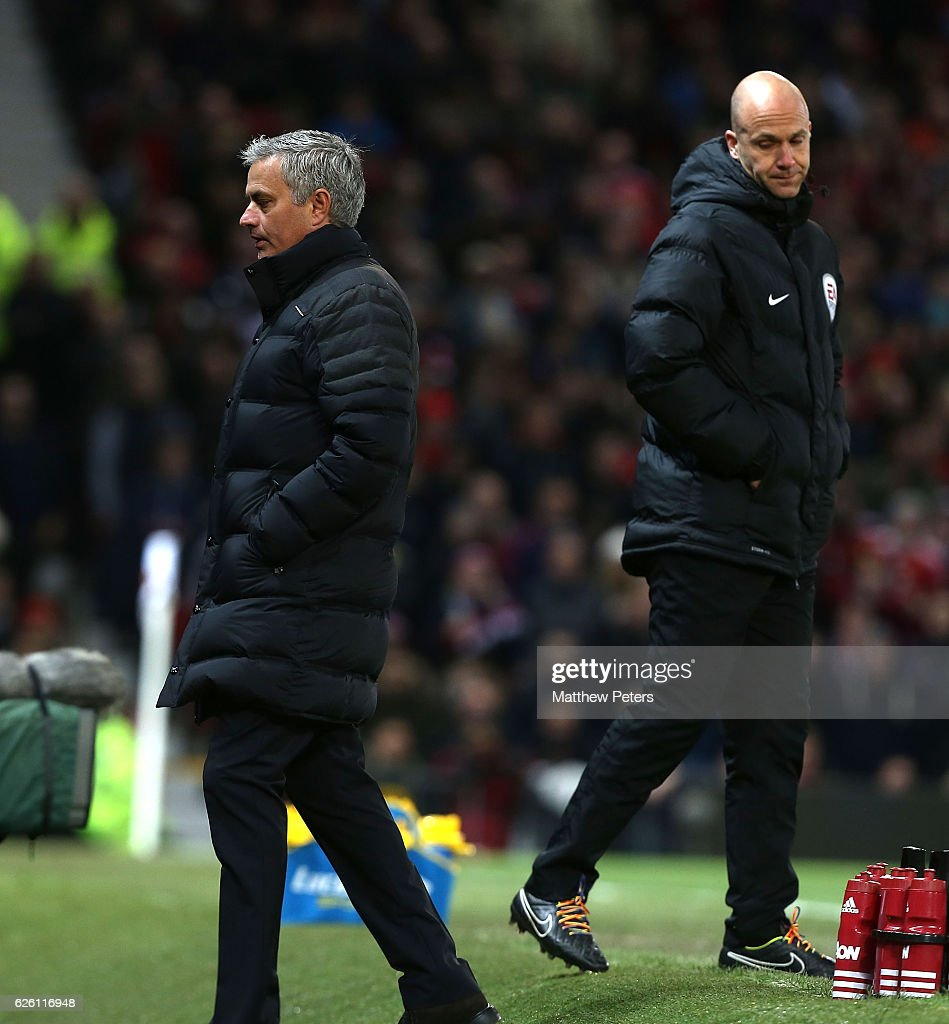 Manager Jose Mourinho of Manchester United is sent off after complaining to fourth official Anthony Taylor during the Premier League match between Manchester United and West Ham United at Old Trafford on November 27, 2016 in Manchester, England.