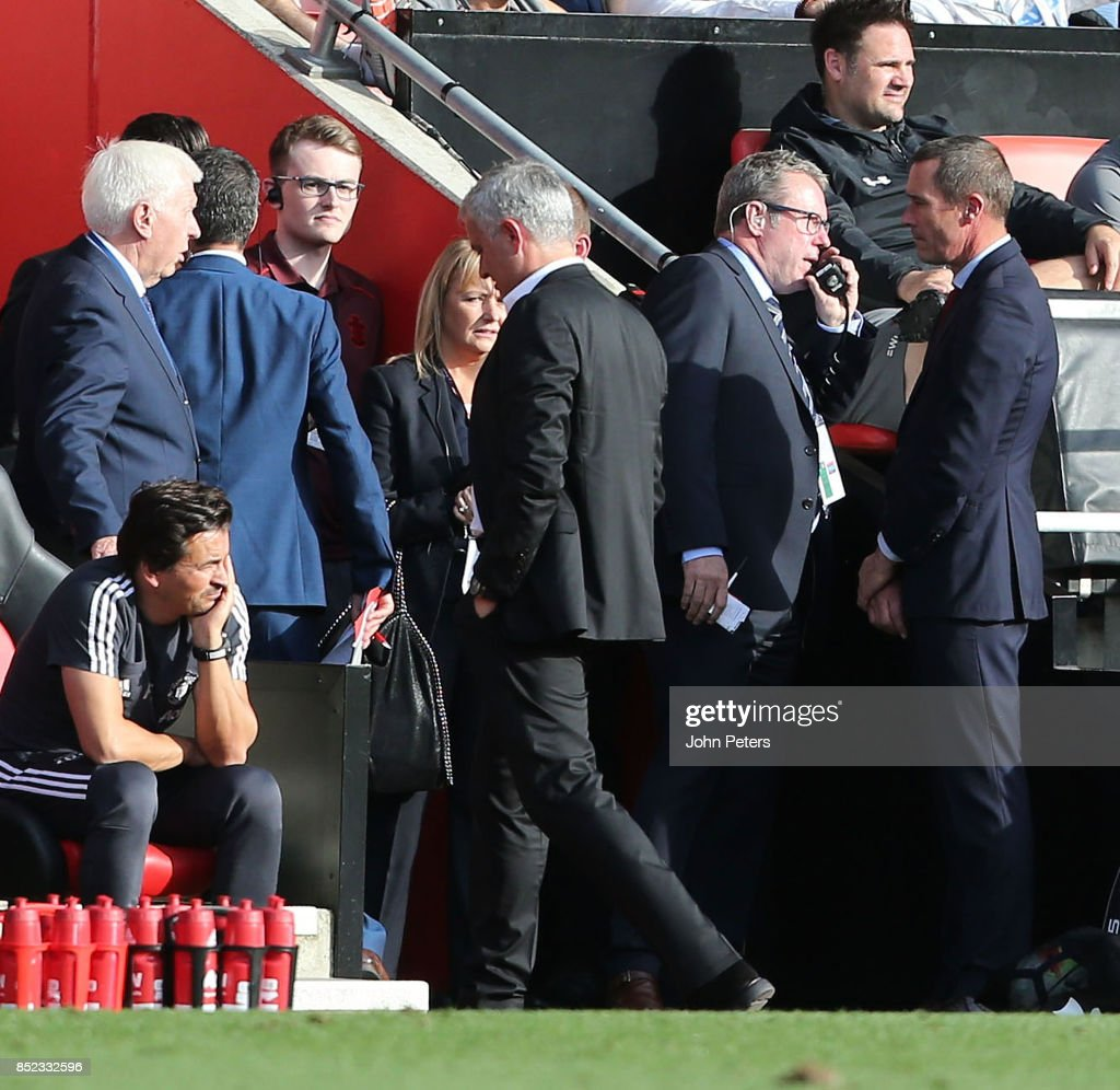 Manager Jose Mourinho of Manchester United is sent off during the Premier League match between Southampton and Manchester United at St Mary's Stadium on September 23, 2017 in Southampton, England.