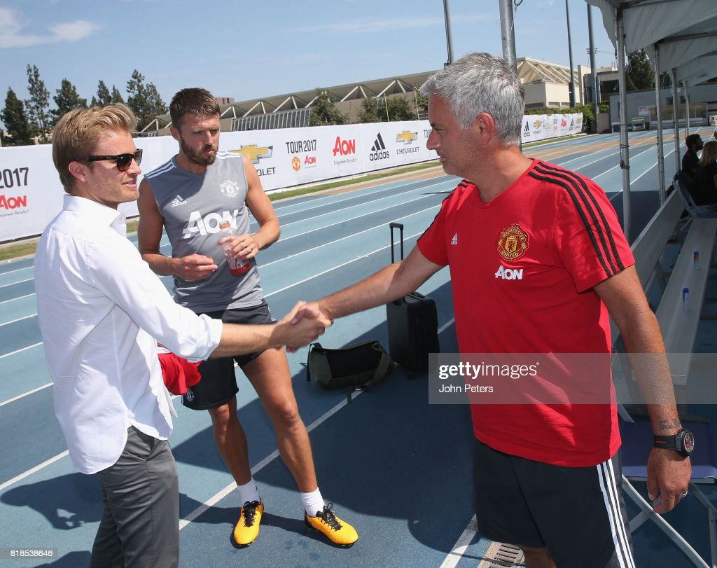 Manager Jose Mourinho of Manchester United meets Formula One world champion Nico Rosberg ahead of a first team training session as part of their pre-season tour of the USA at UCLA on July 18, 2017 in Los Angeles, California.
