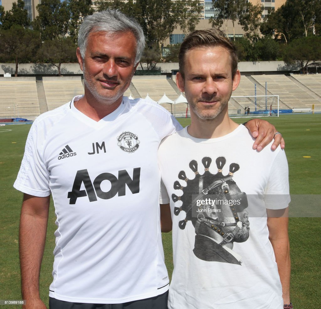 Manager Jose Mourinho of Manchester United poses with actor Dominic Monaghan ahead of a first team training session as part of their pre-season tour of the USA at UCLA on July 13, 2017 in Los Angeles, California.