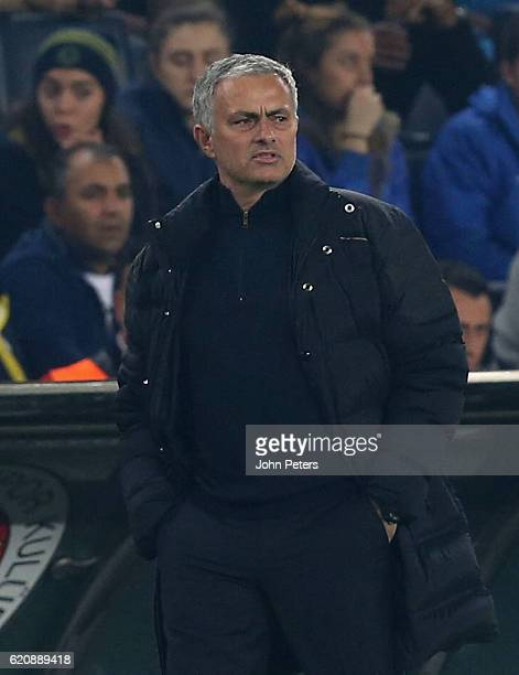 Manager Jose Mourinho of Manchester United reacts to conceding a goal to Jermaine Lens of Fenerbahce during the UEFA Europa League match between...