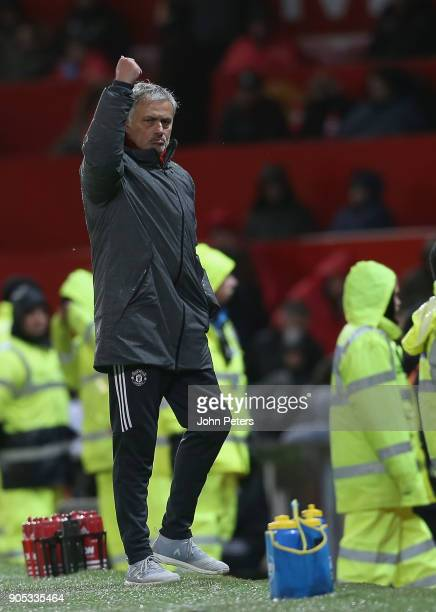 Manager Jose Mourinho of Manchester United salutes the crowd during the Premier League match between Manchester United and Stoke City at Old Trafford...