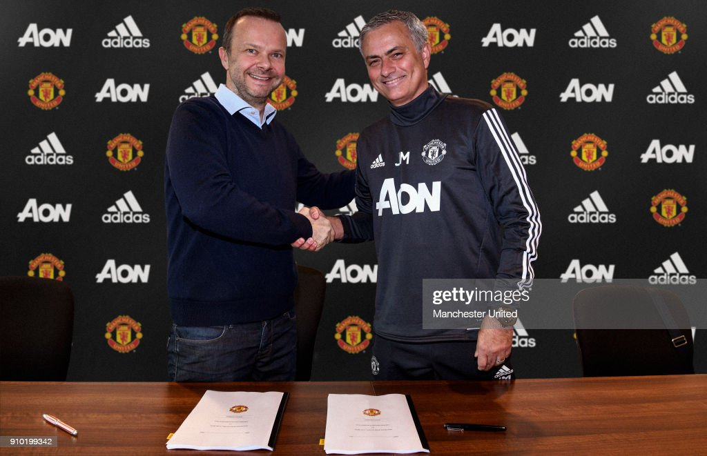 Jose Mourinho Signs A Contract Extension at Manchester United : News Photo