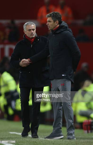 Manager Jose Mourinho of Manchester United shakes hands with Manager Mauricio Pellegrino of Southampton after the Premier League match between...