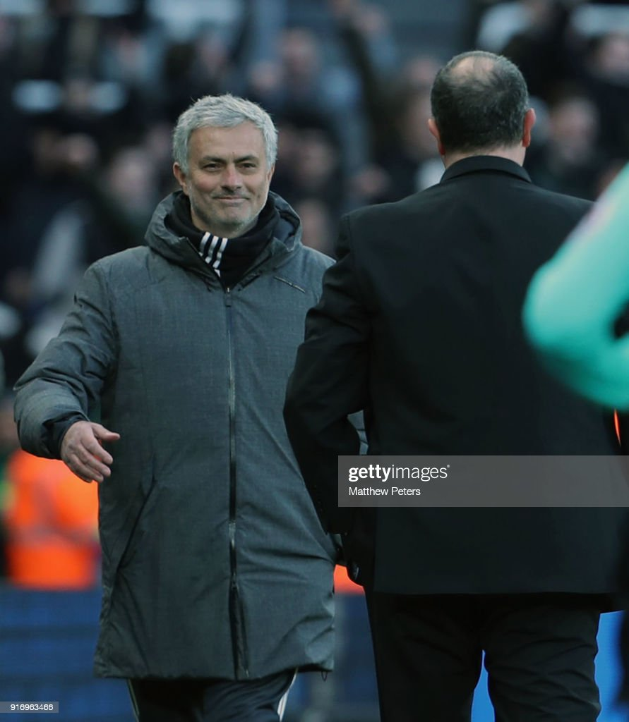 Manager Jose Mourinho of Manchester United shakes hands with Manager Rafael Benitez of Newcastle United after the Premier League match between Newcastle United and Manchester United at St. James Park on February 11, 2018 in Newcastle upon Tyne, England.