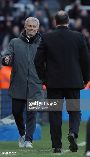 Manager Jose Mourinho of Manchester United shakes hands with Manager Rafael Benitez of Newcastle United after the Premier League match between...