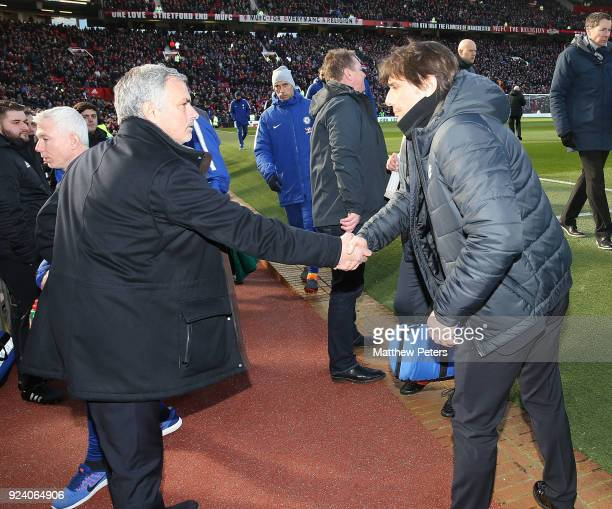 Manager Jose Mourinho of Manchester United shakes hands with Manager Antonio Conte of Chelsea ahead of the Premier League match between Manchester...