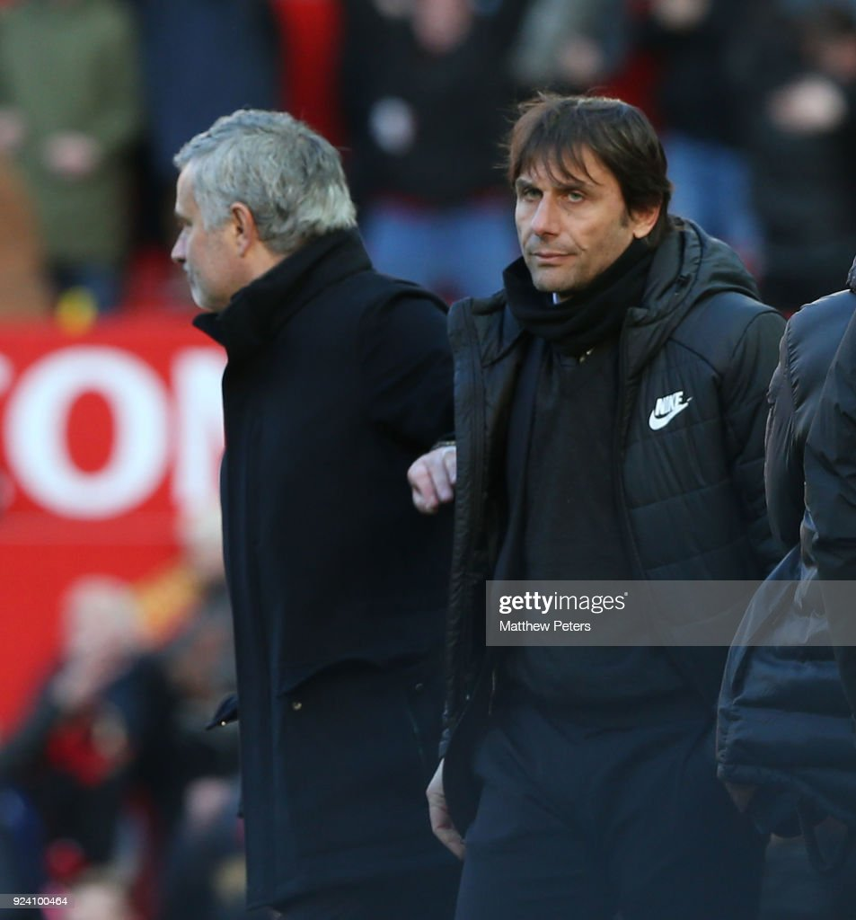 Manager Jose Mourinho of Manchester United shakes hands with Manager Antonio Conte of Chelsea after the Premier League match between Manchester United and Chelsea at Old Trafford on February 25, 2018 in Manchester, England.