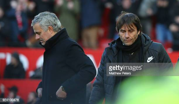 Manager Jose Mourinho of Manchester United shakes hands with Manager Antonio Conte of Chelsea after the Premier League match between Manchester...