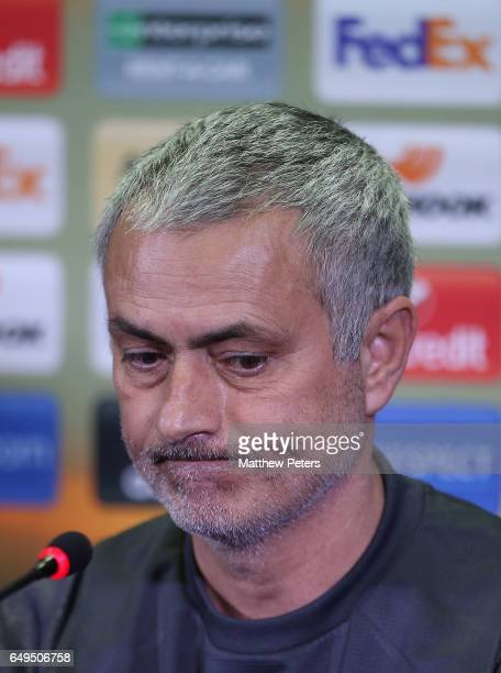 Manager Jose Mourinho of Manchester United speaks at a press conference ahead of a Manchester United first team training session at Olimp2 on March 8...