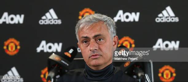 Manager Jose Mourinho of Manchester United speaks at a press conference at Aon Training Complex on September 8 2017 in Manchester England