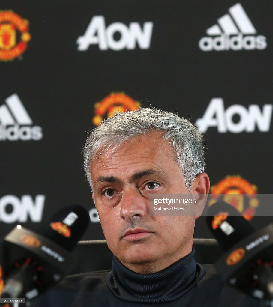 Manager Jose Mourinho of Manchester United speaks at a press conference at Aon Training Complex on September 8, 2017 in Manchester, England.