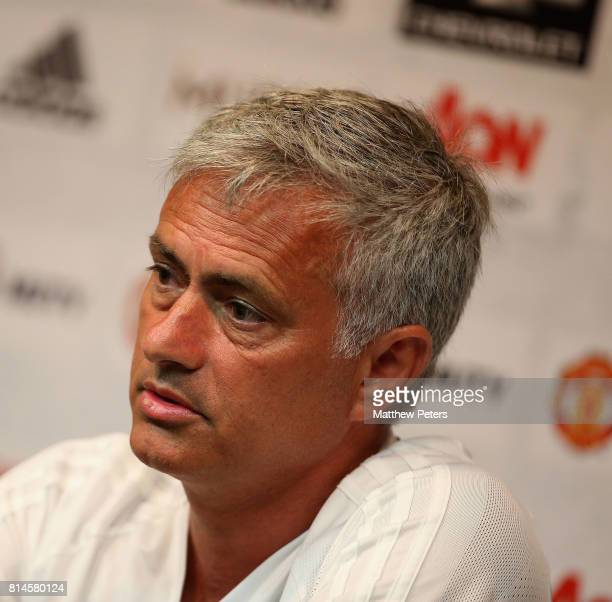 Manager Jose Mourinho of Manchester United speaks during a press conference as part of their preseason tour of the USA at UCLA on July 14 2017 in Los...