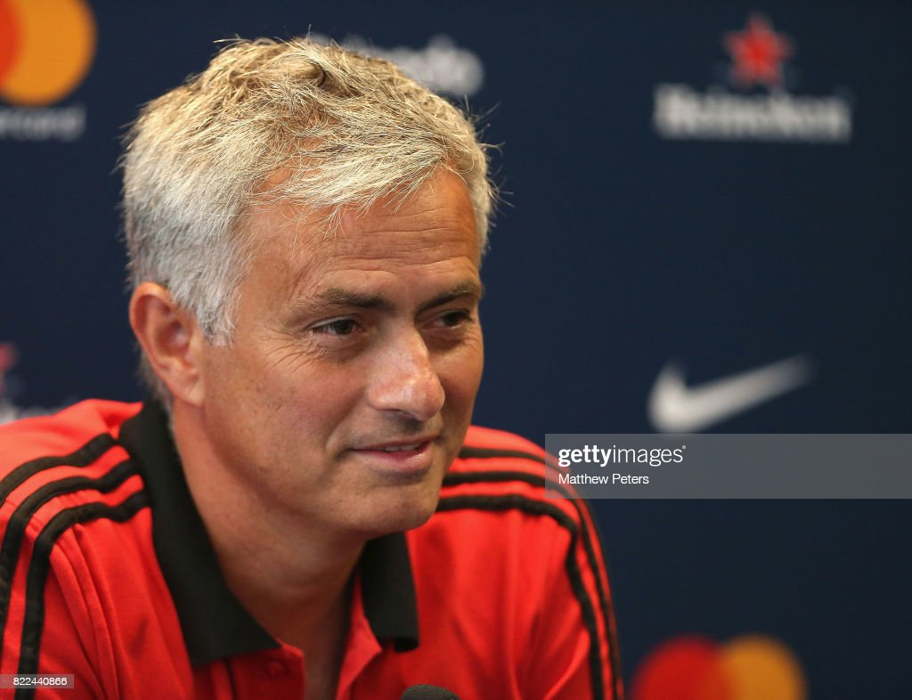 Manager Jose Mourinho of Manchester United speaks during a press conference as part of their pre-season tour of the USA on July 25, 2017 in Washington, DC.