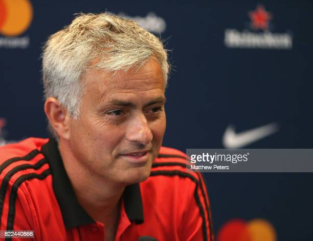 Manager Jose Mourinho of Manchester United speaks during a press conference as part of their preseason tour of the USA on July 25 2017 in Washington...
