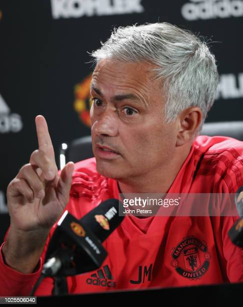 Manager Jose Mourinho of Manchester United speaks during a press conference at Aon Training Complex on August 31 2018 in Manchester England