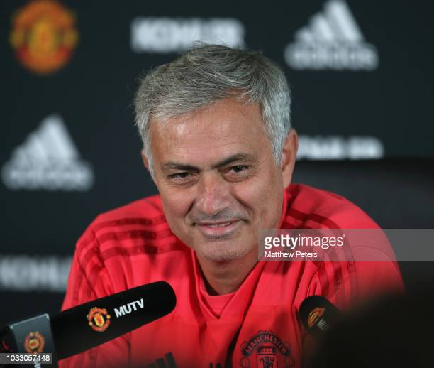 Manager Jose Mourinho of Manchester United speaks during a press conference at Aon Training Complex on September 14 2018 in Manchester England
