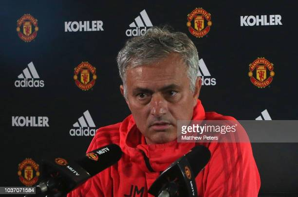 Manager Jose Mourinho of Manchester United arrives for a press conference at Aon Training Complex on September 21 2018 in Manchester England