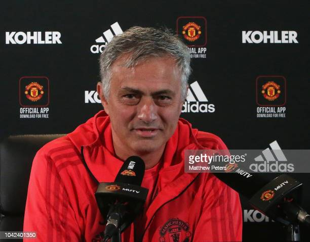 Manager Jose Mourinho of Manchester United speaks during a press conference at Aon Training Complex on September 28 2018 in Manchester England