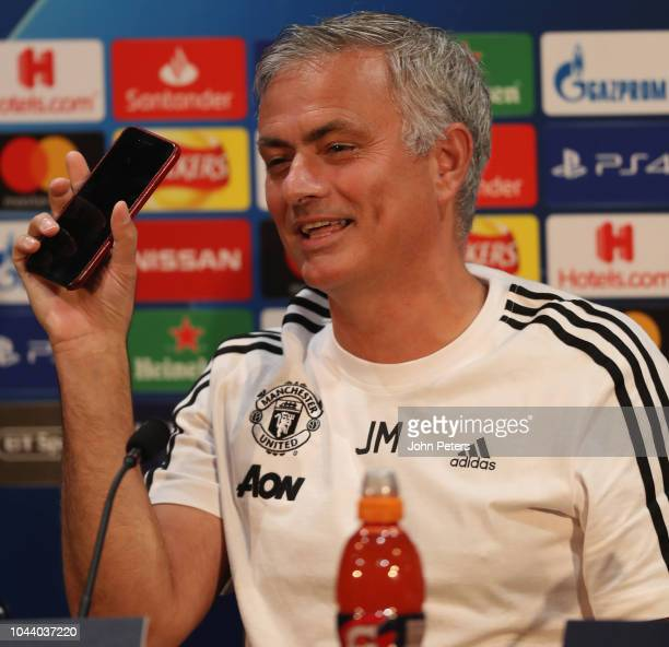 Manager Jose Mourinho of Manchester United speaks during a press conference at Old Trafford on October 1 2018 in Manchester England