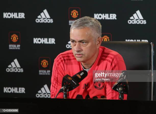 Manager Jose Mourinho of Manchester United speaks during a press conference at Aon Training Complex on October 5 2018 in Manchester England