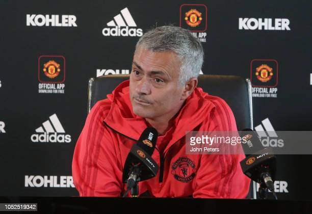 Manager Jose Mourinho of Manchester United speaks during a press conference at Aon Training Complex on October 19 2018 in Manchester England