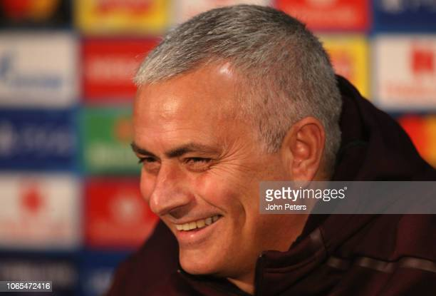 Manager Jose Mourinho of Manchester United speaks during a press conference at Old Trafford on November 26 2018 in Manchester England