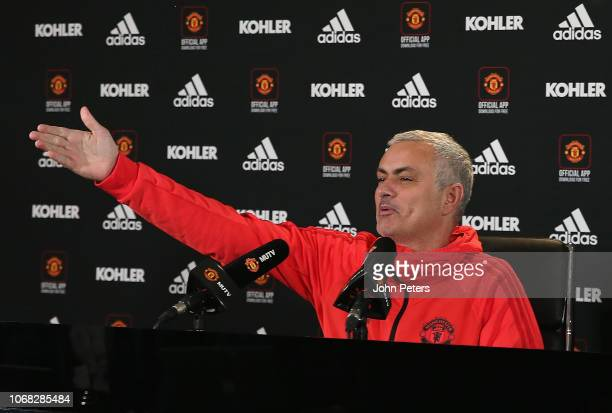 Manager Jose Mourinho of Manchester United speaks during a press conference at Aon Training Complex on December 4, 2018 in Manchester, England.