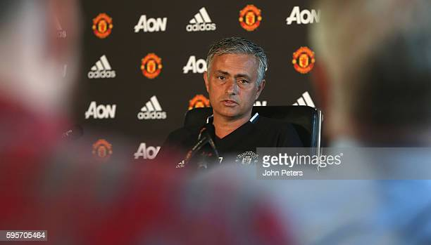 Manager Jose Mourinho of Manchester United speaks during a press conference at Aon Training Complex on August 26 2016 in Manchester England
