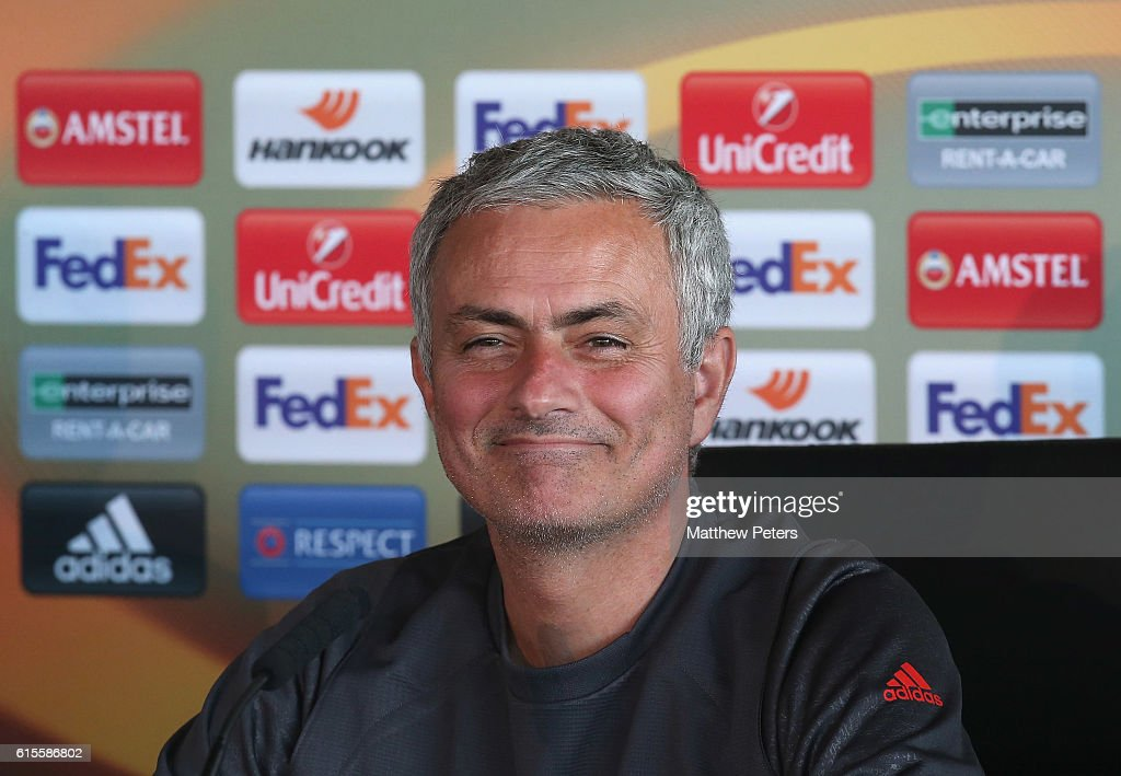 Manager Jose Mourinho of Manchester United speaks during a press conference at Aon Training Complex on October 19, 2016 in Manchester, England.