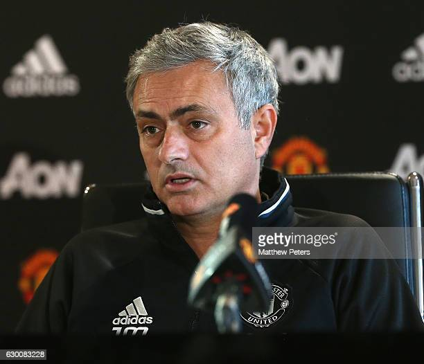Manager Jose Mourinho of Manchester United speaks during a press conference at Aon Training Complex on December 16 2016 in Manchester England