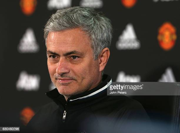 Manager Jose Mourinho of Manchester United speaks during a press conference at Aon Training Complex on December 23 2016 in Manchester England