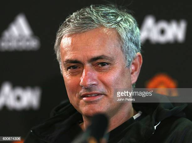 Manager Jose Mourinho of Manchester United speaks during a press conference at Aon Training Complex on December 30, 2016 in Manchester, England.