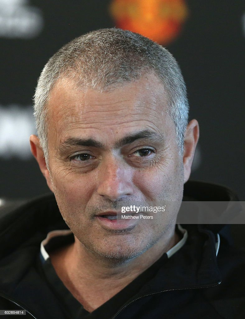 Manager Jose Mourinho of Manchester United speaks during a press conference at Aon Training Complex on January 25, 2017 in Manchester, England.
