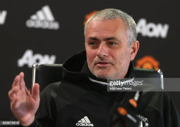 Manager Jose Mourinho of Manchester United speaks during a press conference at Aon Training Complex on February 3 2017 in Manchester England