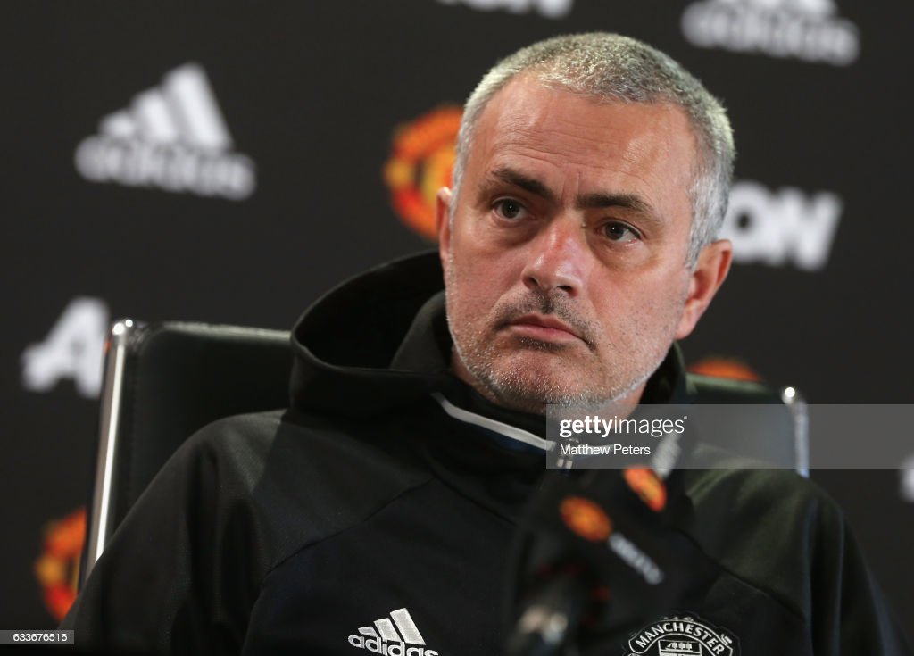 Manager Jose Mourinho of Manchester United speaks during a press conference at Aon Training Complex on February 3, 2017 in Manchester, England.