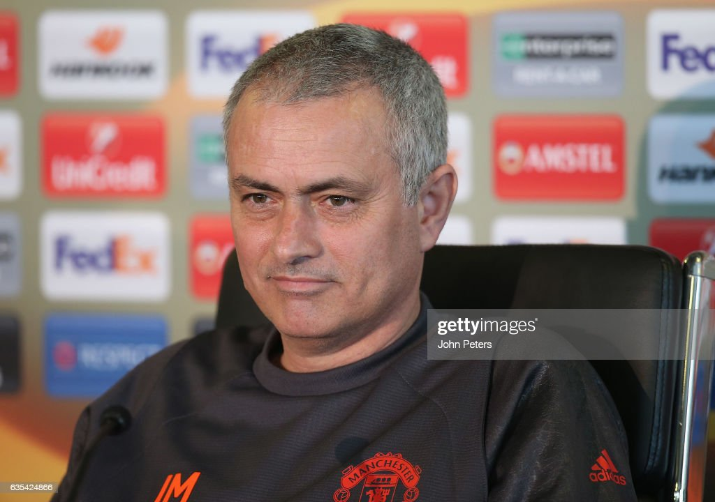Manager Jose Mourinho of Manchester United speaks during a press conference at Aon Training Complex on February 15, 2017 in Manchester, England.