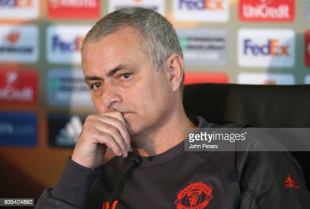 Manager Jose Mourinho of Manchester United speaks during a press conference at Aon Training Complex on February 15 2017 in Manchester England