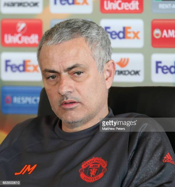 Manager Jose Mourinho of Manchester United speaks during a press conference at Aon Training Complex on March 15, 2017 in Manchester, England.