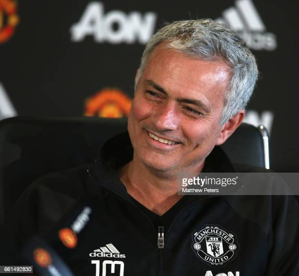 Manager Jose Mourinho of Manchester United speaks during a press conference at Aon Training Complex on March 31 2017 in Manchester England
