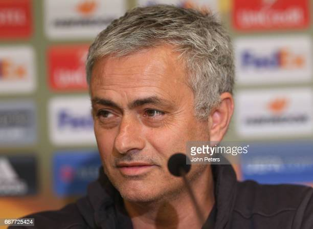 Manager Jose Mourinho of Manchester United speaks during a press conference at Constant Vanden Stock stadium on April 12 2017 in Brussels Belgium
