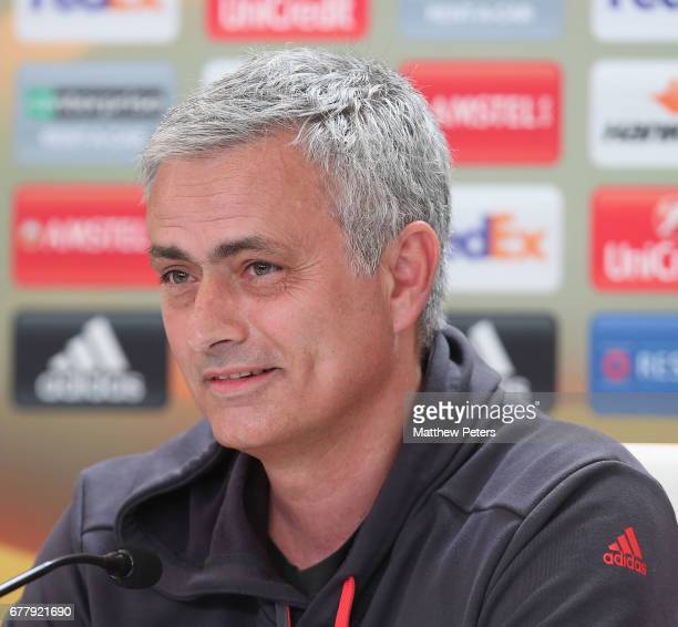 Manager Jose Mourinho of Manchester United speaks during a press conference at Estadio Balaidos on May 3 2017 in Vigo Spain