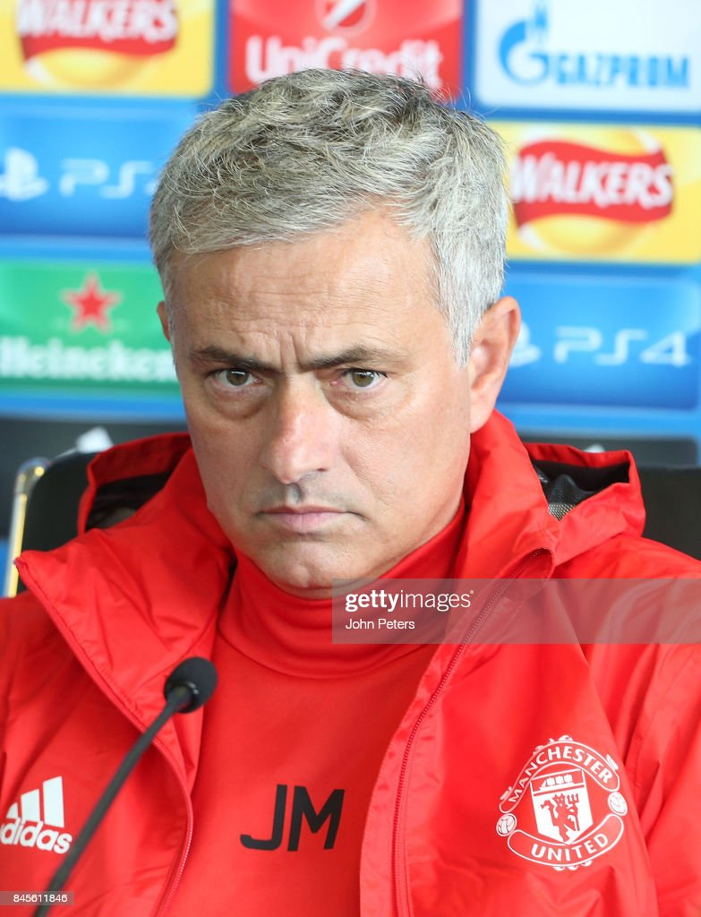 Manager Jose Mourinho of Manchester United speaks during a press conference at Aon Training Complex on September 11, 2017 in Manchester, England.