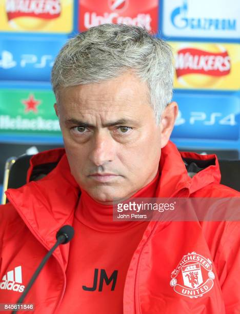 Manager Jose Mourinho of Manchester United speaks during a press conference at Aon Training Complex on September 11 2017 in Manchester England